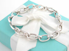Tiffany & Co Silver Ovals Link Clasp Charm Bracelet 8.5 Inch Box Included