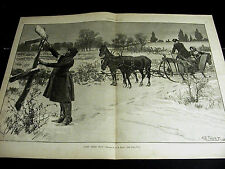A.B. Frost Black Americana LOST CARRIAGE DRIVER Horse & Sled 1887 Large Print