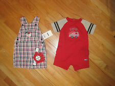Toddler boy HERO FIRETRUCK RED ROMPER & SLUGGER BASEBALL OVERALLS SHORTS NWT 12m