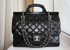 VERIFIED Authentic Rare Chanel Quilted Glazed Leather Delivery Tote Flap Bag