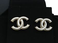 AUTHENTIC CHANEL CC Logo Shimmering Chains Gold Studs Earrings NWT