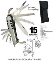 ARMY KNIFE CAMPER HIKING POCKET PEN KNIFE TOOL MULTI BLADE 15 FUNCTIONS