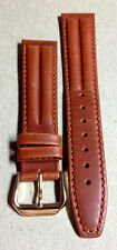 18mm LIGHT BROWN LEATHER DOUBLE HUMP RETRO MENS WATCH BAND! Gold Buckle!