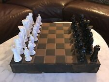 UNIQUE VINTAGE CUSTOM MADE WOOD & CERAMIC TILE CHESS BOARD SET KING 4.25""