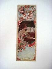 "1912 Vintage Victorian Ad Bookmark- ""The Weaver Piano"" w/ Woman,Piano & Angels*"