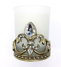 Fleur de lis - Brass Votive Holder with Clear Crystals - Candle Included