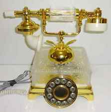 Vintage Style 24% LEAD CRYSTAL Telephone Phone by Crystal Clear Gold Tone w/ BOX