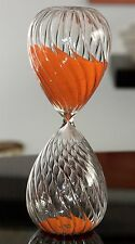 LARGE SIZE CORAL ORANGE SAND HOURGLASS TIMER FANCY SWIRLS RIBBED GLASS. 45 min