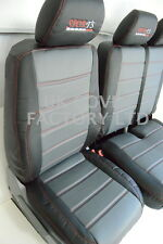 FORD TRANSIT MK7 2006+ VAN SEAT COVERS GREY BLACK QUILTED RED STITCH X120GYBK-RD