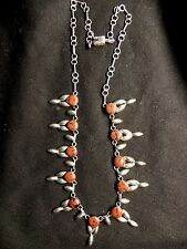 STERLING SILVER MEXICO MAHOGHANY OBSIDIAN SQUASH BLOSSOM NECKLACE BUY NOW OFFER