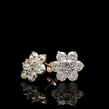 Simulated Diamond 2CT Cluster Earrings 14K Yellow Gold Round Cut Studs Screwback