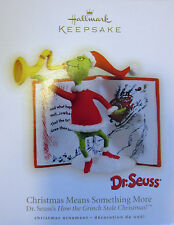 * 2009 *  GRINCH CHRISTMAS MEANS SOMETHING MORE  Hallmark Ornament DR SEUSS