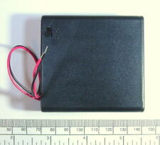 Battery holder for 4 X 'AA' (UM-3) cell - with leads - hard case - with switch