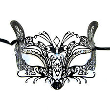El Gato Venetian Style Metal Filigree Masquerade Mask Diamante Cat Fox Mouse