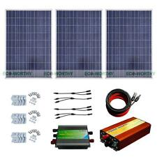 300W System 3*100W Solar Panel+1KW 12-220V Off Grid Pure Sine Inverter for Home