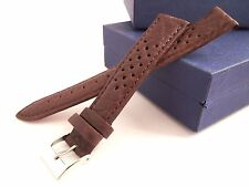 18 mm Brown Perforated Calf Type Leather Watch Strap Band
