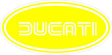 """#k108(2) 3"""" Ducati Oval Racing Classic Vintage Decal Sticker LAMINATED Yellow"""