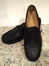 Ugg Hendricks Leather Loafers Slip On Moc 1/3 Insole Real Fur Black 11.5 /45 New