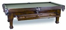 New 8' Ramsey Slate Pool Table with Hidden Storage Drawer Antique Walnut Finish