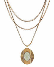 LUCKY BRAND Mint Green Resin Stone Pendant Gold-Tone Layered Necklace $69