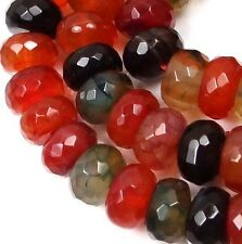10x5mm Colorful Fire Spider web Agate Faceted Rondelle Beads  15""