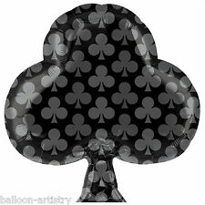 "21"" Casino Night Party Card Suit Black Club CLUBS Foil Jnr Shape Balloon"