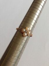 Fine Antique Victorian 18ct Natural Seed Pearl & Rose Diamond Ring - Circa 1880