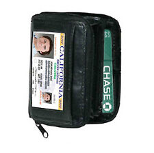 BLACK LEATHER WALLET ACCORDION FAN ID Window Coin Credit Card Holder 1 Zip