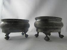 2 anciennes cuve de  salerons en metal argenté poinconné anglaises XIXe