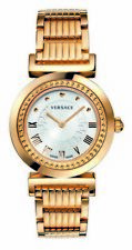 Versace Women's P5Q80D001 S080 Vanitas Rose Gold IP Silver Dial Bracelet Watch