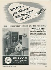 1948 Wilcox VHF Radio Ad Mid Continent Air Lines Aviation Airlines Transmitter
