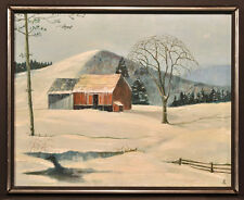 Mid to Late 20th C New York Winter Farm Landscape with Mountains, Signed, Oil on