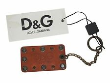 Dolce & Gabbana D&G Keychain Keyring Brown Leather
