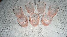 Lot of 7 Vintage Pink Depression Glass Drink Glasses, Etched floral