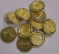 8pc 20mm Italian Inspired Shield Crown Gold Metal Military Blazer Button   2089