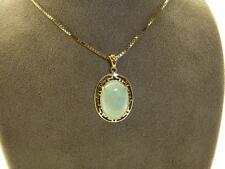 "Oriental Style 9carat Yellow Gold Jade Set Pendant, Presented on a 16"" Necklace"