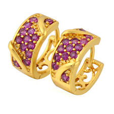 Fashion Jewellry Yellow Gold Filled Womens Elegant Red Ruby Hoop Earrings