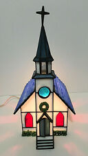 Forma Vitrum Ltd Edition Country Church Lighted Stained Glass Church in Box EUC