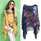New Women Sexy Batwing Sleeve Loose Chiffon Floral Print T-shirt Blouse Tops