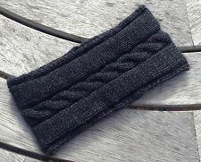 Ladies Luxury Charcoal 100% cashmere Single Cable Headband by Willow Creations
