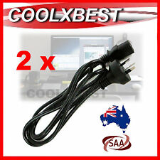 2 x NEW AUSTRALIAN AU 3 PIN AC POWER CORD CABLE 1.8M For PC MONITOR XBOX TV PS3