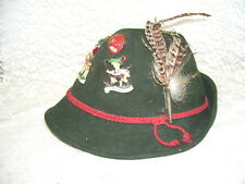 ANTIQUE GERMAN HAT W/ SEVEN PINS AND A FEATHER SWISS ALPS