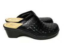 Bass Trisket Clogs Black Leather Woven Slip On Shoes Women's 9 M Casual Wear