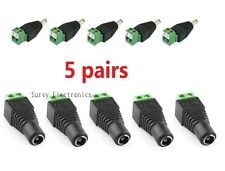 5 Pairs Male and Female 2.1x5.5mm DC Power Plug Jack Adapter Connector for CCTV