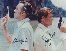 ROGER MOORE & CHRISTOPHER LEE SIGNED JAMES BOND 007 8x10 PHOTO - UACC & AFTAL RD