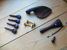 VIOLIN FITTINGS, 4/4, UNUSUAL WENGE WOOD, PEGS, TAILPIECE, CHIN REST, END PIN!