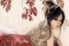 Sexy Tattoo Fantasy Asian Girl Poster 60x90cm Silk Fabric Print art wall decor