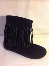 Nine West Black Ankle Suede Boots Size 7.5M (Uk Size 5.5)