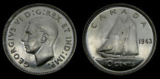1943 Canada Silver Dime 10 Cents King George VI MS-60
