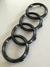 AUDI Q7 GLOSS BLACK CARBON FIBRE FRONT RINGS BADGE EMBLEMS BONNET GRILLE BADGE